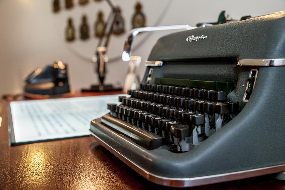 1940s typewriter on display