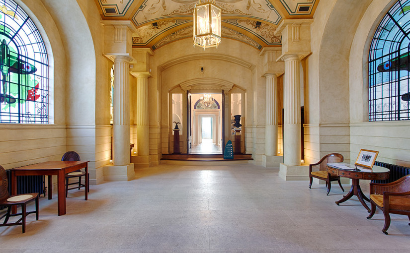 Entrance Hall to Bentley Priory Museum, with its intricate ceiling and stain-glass windows